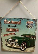 For Dad Tin Signs Retro Car Travel Thru America Route US 66 Home Cafe Bar Decor