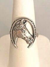 VINTAGE 925 STERLING SILVER LUCKY HORSESHOW EQUESTRIAN RING SIZE 7