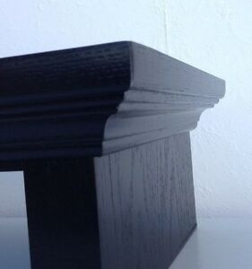 TV Riser Stand Traditional CROWN Style in Oak Wood with Black Finish