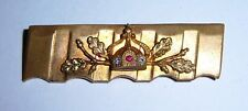 GERMAN - Trench Art, Brooch, with Mini Imperial Crown & Sprig of Oak Leaves.