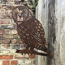 Rusty OWL Garden  home silhouette sign Ornament decoration feature Statue bird