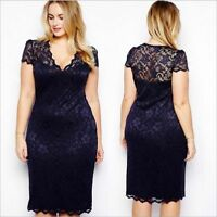 Women Lace V Neck Formal Wedding Cocktail Evening Party Dress Plus Size 5XL