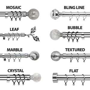 Metal Curtain Pole Extendable Chrome 28mm Rings Brackets Fittings Finials