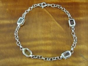 Multi Color Stones Chain Sterling Silver 925 Bracelet