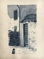 Art Nouveau Watercolour House Corner With Wooden Stack Antique 15x11 3/8in