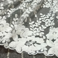1 yard 35cm Wide Delicate White Embroidered Flower Tulle Lace Trim Sewing Fabric