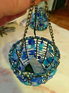 Hanging Lanterns with Acrylic Blue Beads - 2 x paraboloid / dome shaped