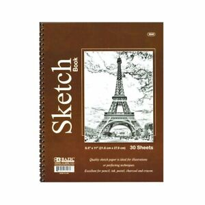 """30 Sheets 8.5""""X11"""" Side Bound Spiral Premium Sketch Book Paper Pad Drawing"""