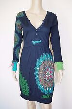 €94 DESIGUAL S WOMENS DRESS KNITTED LONG SLEEVES MIDI MID-CALF POCKETS STRETCH