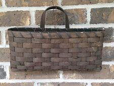 Primitive Country Rustic Grungy Brown Envelope Wicker Reed Wall Hanging Basket