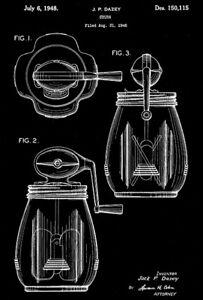 1948 - Butter Churn - J. P. Dazey - Patent Art Poster