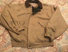 Men's Woolrich Coat Jacket Plaid Flannel Lined Tan Sand Color Size Large