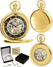 Woodford Hunter Pocket Watch Skeleton Gold Plated and Black, Free Engraving 1114
