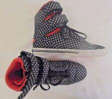 Supra Black Polka Dot High Top Lace up Athletic Ladies Sneakers 6.5M