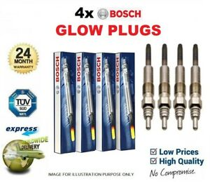 4x BOSCH GLOW PLUGS for VW CADDY III Box 1.6TDI 2010-2015