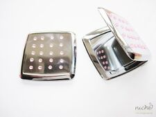 HIGH QUALITY COSMETIC COMPACT MIRROR in SILVER with a PINK JEWELS DESIGN