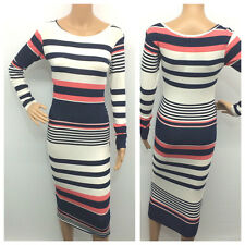 WOMENS LADIES LONG SLEEVE STRIPE PRINT STRETCH BODYCON MIDI DRESS PLUS SIZE 8-22