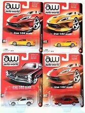 1:64 Scale Auto World 4 x Cars - Chevrolet, Dodge, Ford, Pontiac - BNIB