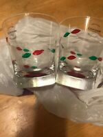 Gorham CHRISTMAS JEWELS (RED FOOT) Double Old Fashioned Glasses. Set Of 2