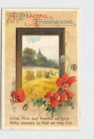 PPC POSTCARD PEACEFUL THANKSGIVING WINSCH ? ROSES WHEAT EMBOSSED