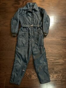 Vintage Snow Snowmobile Suit Ski Suit Made in USA Youth Size Medium Blue Belted