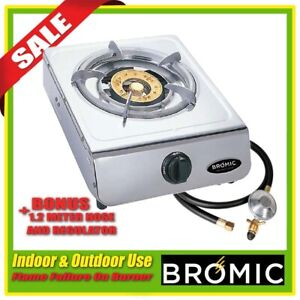 Bromic Wok Cooker LPG Deluxe Single Burner DC100 Regulator & Hose Quick Ignition