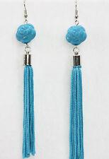 Asian rose tassel dangle earrings drops bright turquoise blue fancy fun