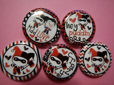 """15 Harley Quinn Joker Kawaii  1"""" Craft Flatback Button Cabochon Embellishment"""