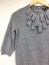 Ann Taylor Heather Gray Petal Loop Neck 3/4 Sl 100% Merino Wool Sweater Sz S