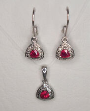 SET OF AFRICAN RUBY & DIAMOND EARRINGS & PENDANT 925 STERLING SILVER 1.00CT