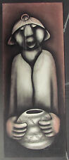 """Original David Mbele Charcoal- """"Miner with Gourd""""- Signed-  31"""" x 12.5"""""""