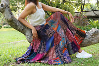 Boho Patchwork Skirt * Maxi Long Gypsy Hippie Tiered in 100% Silky Flared Rayon