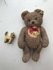 THE STEIFF COLLECTION ENESCO 1970 ZOTTY TEDDY BEAR ORNAMENT + PEWTER CAT