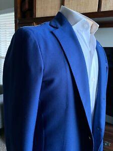 $655 RODA Solid Blue Woven 100% Wool Mens Blazer Sport / Formal Sz 50EU 40US