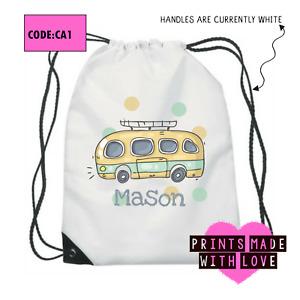 Personalised camper van school bag , PE bag , football , ballet , CA1