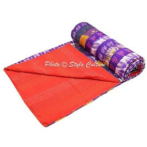 Indian Patchwork Quilt Queen Patola Silk Reversible Kantha Coverlet   Quilts