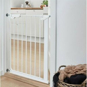 Stair Gate for Babies and Pets - White, Steel, Adjustable, 2-Way Opening - Used