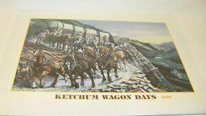KETCHUM Idaho Vintage WAGON DAYS Rare Poster 1988 Cowboys Ralph Harris Western
