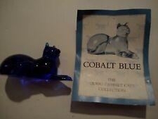 The Franklin Mint Curio Cabinet Cat BLUE COBALT glass/crystal figurine