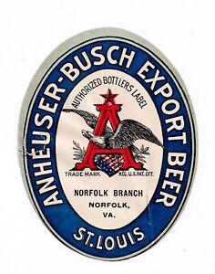 RARE 1880-1890 ANHEUSER BUSCH BREWING ASSN, NORFOLK, VA EXPORT BEER PREPRO LABEL