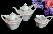 ANTIQUE RS Prussia TEA SET 3pc cream TEAPOT sugar SATIN finish PINK ROSES marked