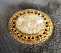 Vintage HOLLYWOOD gold tone brooch white stone chips costume jewellery