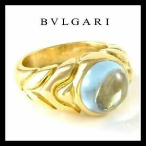 Bvlgari 18K Yellow Gold, 4.25ct Aqua Cabochon Cocktail Ring