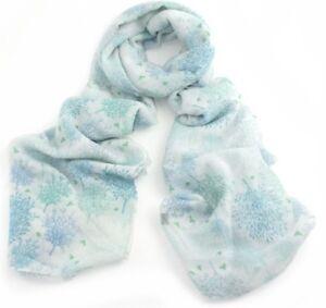 BNWT White Turquoise & Blue Nature Tree Print Unusual Polycotton Scarf Hijab