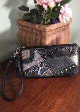 Coach Black Denim Studded Wristlet Wallet Bag Stitched Patchwork Signature  W20
