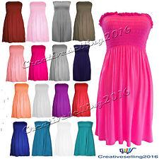 WOMEN'S LADIES PLAIN BOOBTUBE BANDEAU SUMMER STRAPLESS SHORT SHEERING DRESS TOP
