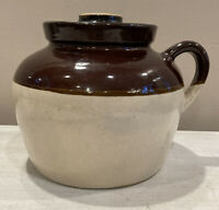 Vintage Brown Tan One Handle Stoneware with Lid - Made In USA - Bean Pot Pottery