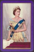 Playing Cards Single Card Old Vintage QUEEN ELIZABETH II 2 Royal Art Portrait H