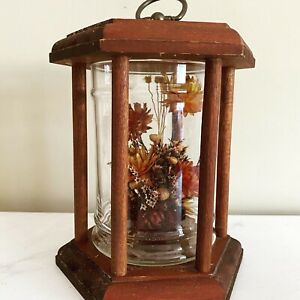 Vintage Glass Dome with Orange Dried Flowers in Wooden Hanging Lantern