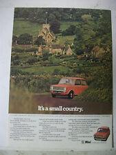 1972 MINI CLUBMAN 1000 IT'S A SMALL COUNTRY BRITISH MAGAZINE ADVERTISEMENT